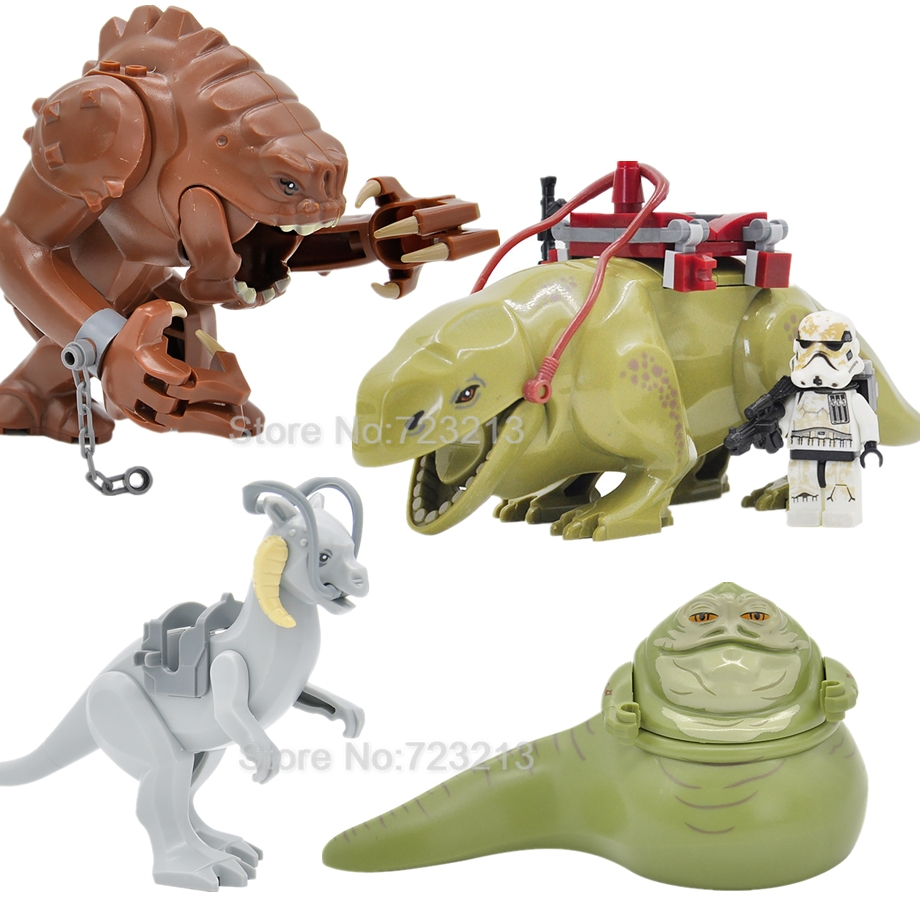 4pcs/lot Tauntaun Jabba Dewback Rancor Figure Set Building Blocks Kids Legoingly Toys Gifts For Children
