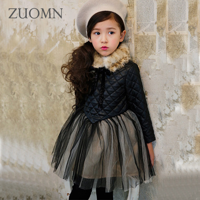 Dresses for Girls Faux Fur Dress Charistmas Dresses Birthday Kids Baby Girl Clothes Princess Dress New Year Party Coat GH335 new summer pink children dresses for girls kids formal wear princess dress for baby girl 3 8 year birthday party dress