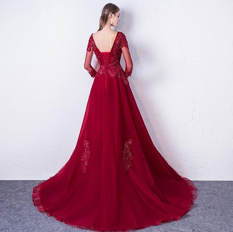 Abendkleider 2018 Գինու կարմիր երեկոյան զգեստ - Հատուկ առիթի զգեստներ - Լուսանկար 2