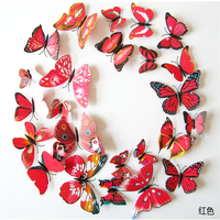 12PCS/lot 3d colorful red Butterfly Fridge Magnets Sticker Room Wall Decoration Free Shipping