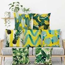 New Tropical Plants Palm Leaf Green Leaves Cushion Covers Banana Cover Decorative Beige Linen Pillow Case