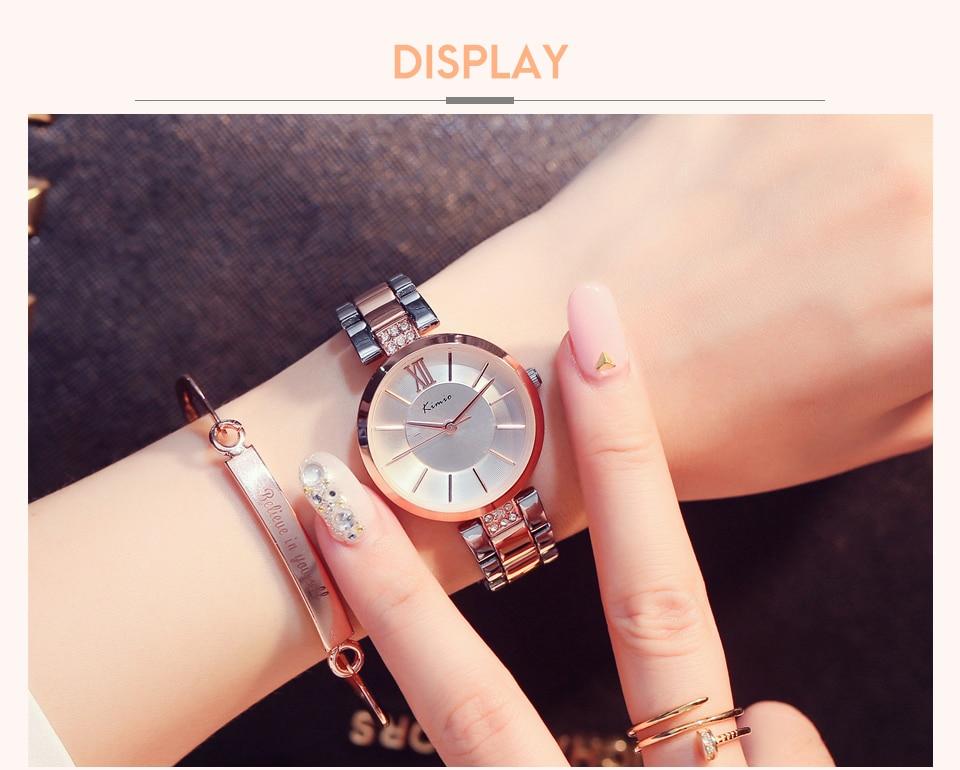 KIMIO Thin Clock Women Fashion Simple Watches Rhinestones Dress Woman Watch Rose Gold Quartz Ladies Women's Watch Wristwatch 9
