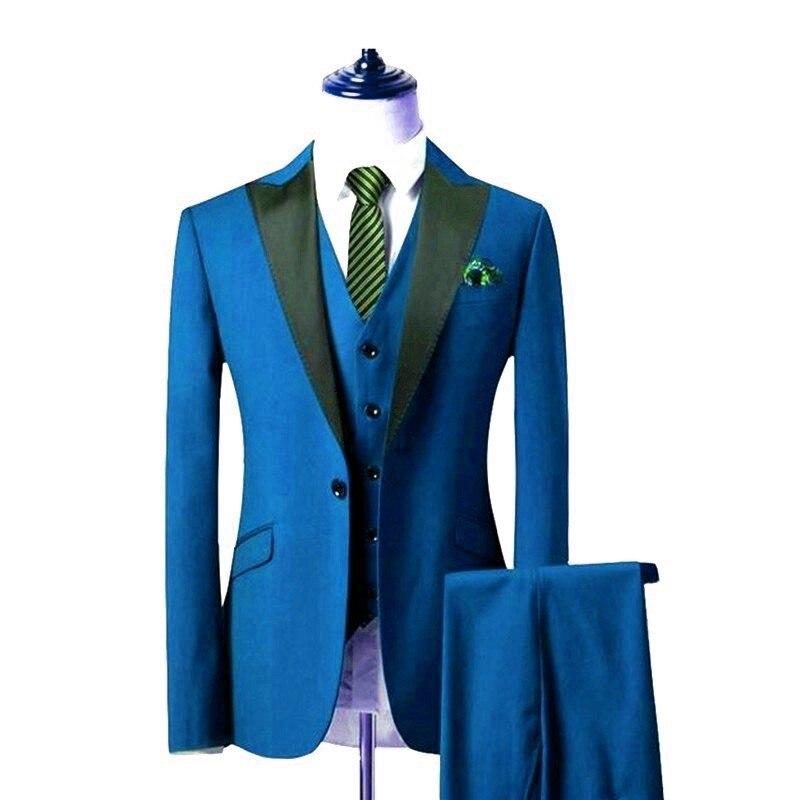 Newest Groomsmen Blue Groom Tuxedos Peak Black Lapel Men Suits Wedding Best Man Blazer ( Jacket+Pants+Vest+Tie ) C490