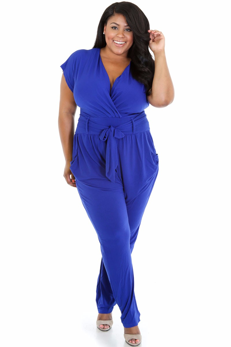Blue-Plus-Size-Belted-Jumpsuit-LC60487-1-1