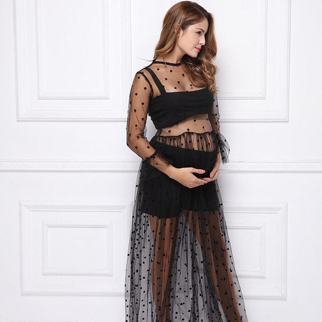 d98873ab1485d Black Lace Dress Pregnancy Photography Props Maternity Gown Photo Shoot Lace  Dresses Pregnant Women Picture Shoot