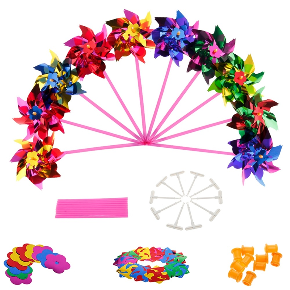 EASY BIG 100Pcs/Lot Plastic Windmill Pinwheel Wind Spinner Kids Toy Garden Lawn Party Decor Toy Gift For Boys Girls Baby TH0027