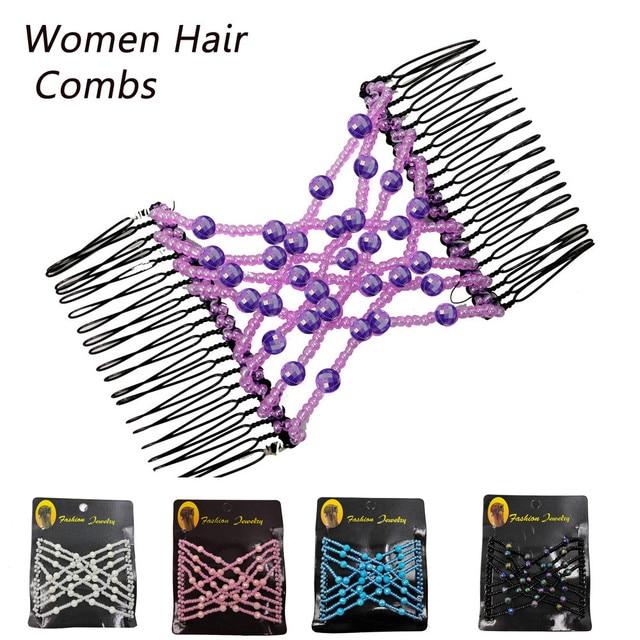 HAICAR peine mágico para el cabello para mujer, cuenta elástica, peines para el cabello para mujer, profesional, doble tobogán mágico, peine de Metal, horquillas AA #