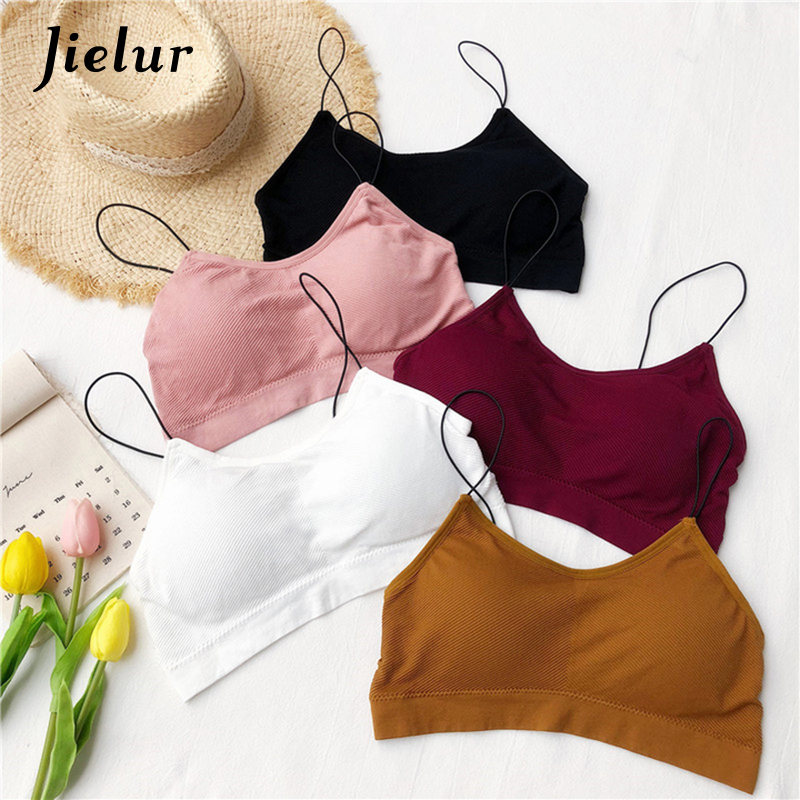 d4623e8f73 Jielur 2019 Summer Tube Tops Solid Color Women Strap Bandeau Bra 5Colors  Sexy Mujer Crop Top
