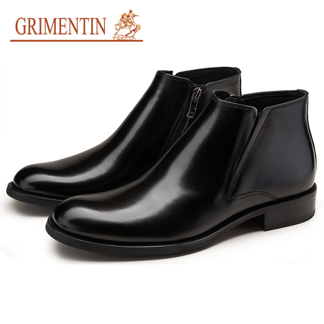 Grimentin Men Boots Leather Winter Fashion 2018 Italian Brand Mens Ankle Genuine Business Office