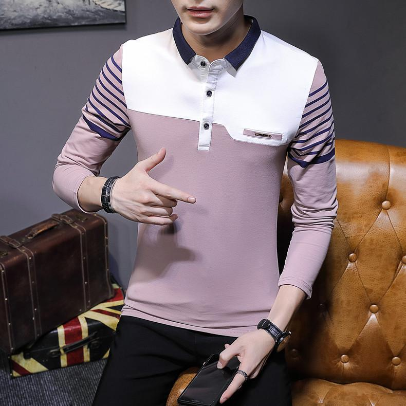 Business Casual Long Sleeve Men Polo Shirt Striped Autumn Winter Polos Cotton Slim Fit Camisa Polo Masculina 59