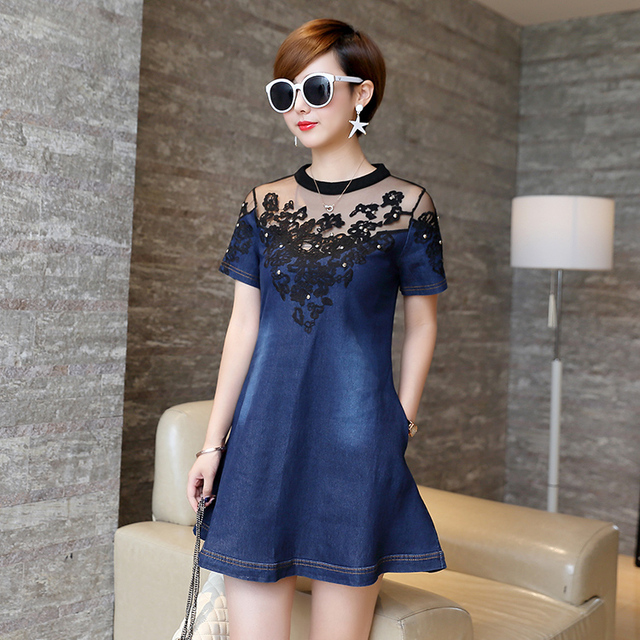 eaf6b9b1001 Fashion Denim Dress Women Summer Hollow Out lady Short Sleeve Sexy Party Dress  Casual Jeans Loose Knee-Length Girl Dresses 178B