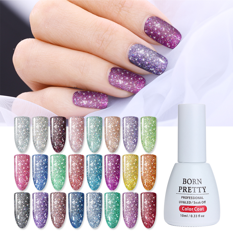 BORN PRETTY 10ml Holographic Sequins Nail Gel Polish Bling Star Glitter Soak Off UV Gel Lacquer Manicure Nail Art Gel Varnish