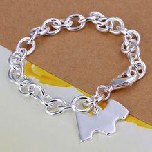 Fina del verano del estilo de plata chapada pulsera 925-sterling-silver dog tag joyería pulseras de cadena para mujeres hombres SB271