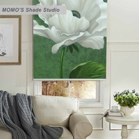 MOMO Flower Blackout Window Curtains Roller Shades Blinds Thermal Insulated Fabric Custom Size,PRB set259 262