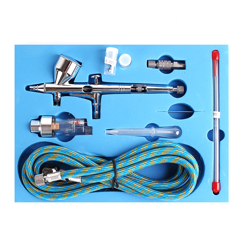 Mini Dual Action Airbrush Compressor Kit 0.2/0.3/0.5mm Needle Air Brush Spray Gun For Makeup Model Nail Body Paint Art SP180K ophir dual action airbrush kit with mini compressor for body paint makeup nail art airbrush compressor set  ac034 ac004 ac011