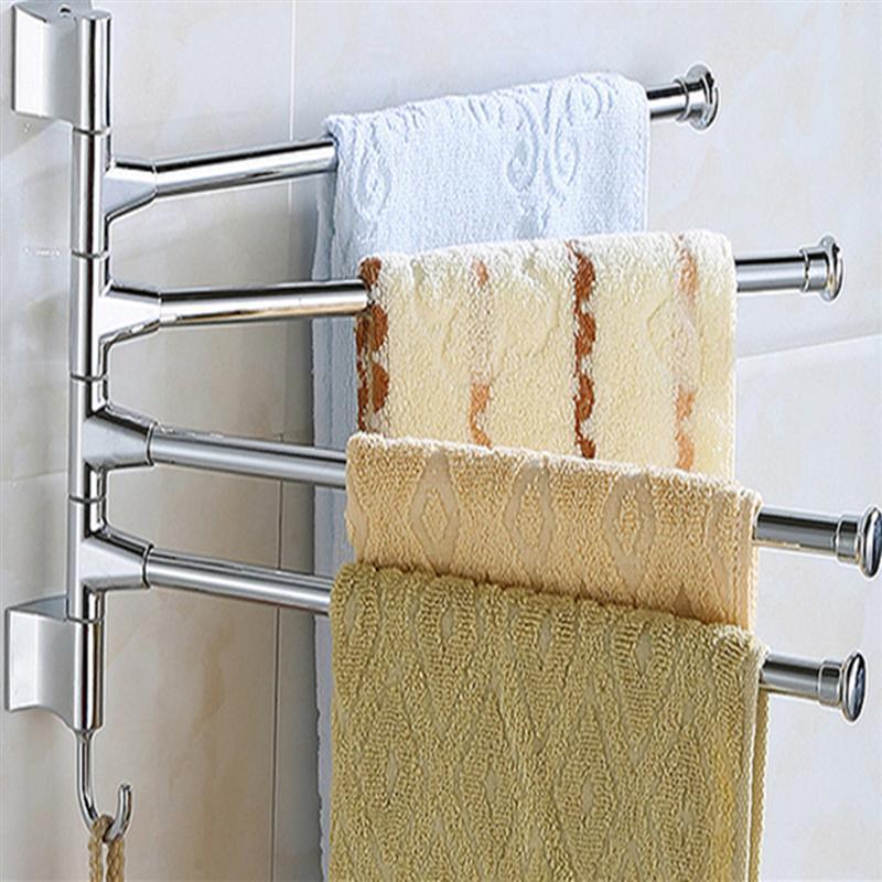 Bathroom Towel Wall Mounted Stainless Steel 4 Swivel Bars