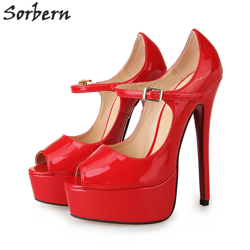 Sorbern 16Cm Extrem High Heels Mary Janes Unisex Pumps Platform Peep Toe Shoes Women Custom Diy Red Bottom High Heels 40-46 women luxury shoes platform pumps bridal wedding lolita shoes black red beige bottom peep toe high heels fetish shoes size 4 16