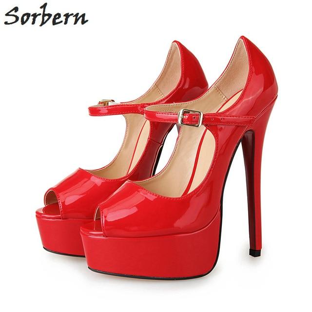 a7678d611ee3 Sorbern 16Cm Extrem High Heels Mary Janes Unisex Pumps Platform Peep Toe  Shoes Women Custom Diy