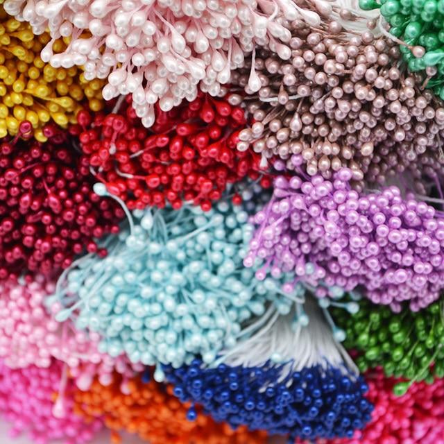 250pcs 3mm Mini Stamen Flower Double Tips Stamen Artificial Flowers DIY Craft Scrapbook Accessories For Wedding Home Party Decor