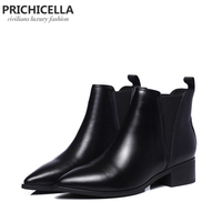 PRICHICELLA women shoes cheap genuine leather pointed toe chelsea boots winter flats motorcycle ankle booties