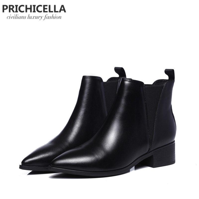 Prichicella женская обувь дешевые натуральная кожа с острым носком ботинки челси зимняя обувь на плоской подошве мотоциклетные ботильоны