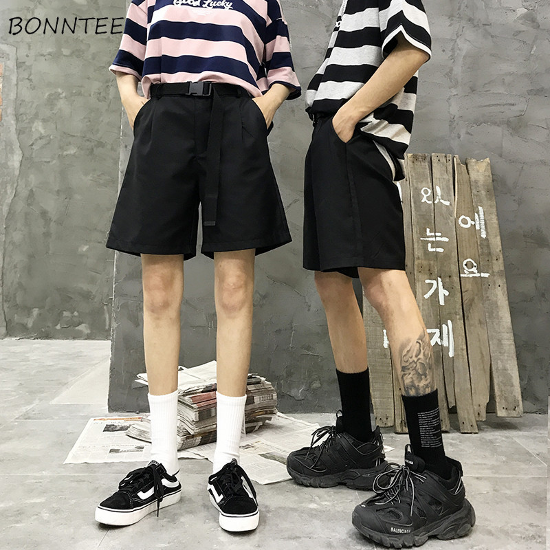 Shorts   Women Harajuku Street Hip Hop Loose Korean Style   Short   Womens BF Straight Trendy Retro Simple Solid Casual Couple Clothes