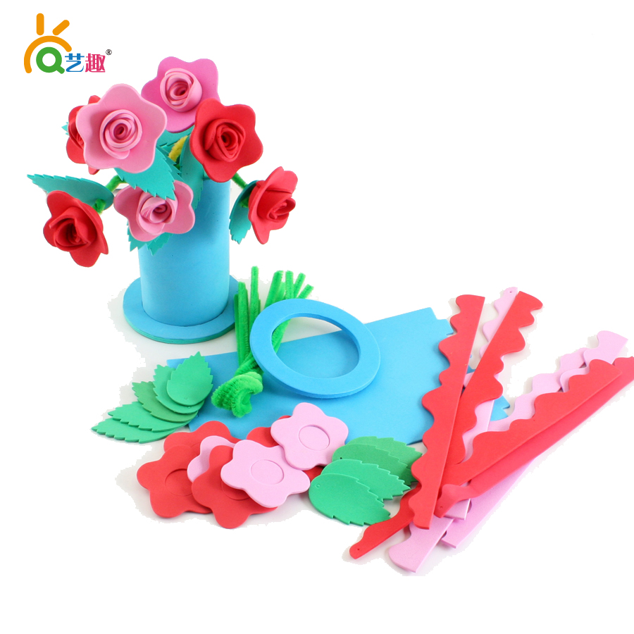 children DIY Eva sticker flower toys/ Kids Child kindergarten handmade art craft gifts include 18 PCs EVA flowers and 3 pots