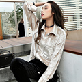 2017 new spring blouse  long sleeved velvet  shirt Korean Korean retro  women fashion shirts