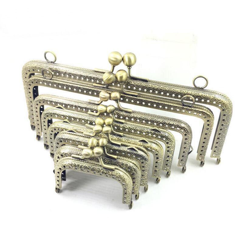10pcs 6.5 7.5 8.5 10.5 12.5 15 18 20cm Metal Buckle for Bag DIY handmade Metal Purse Frame with Kiss Lock wedding clutch frame