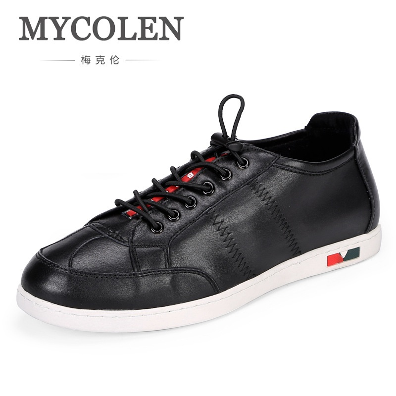 MYCOLEN New Design Genuine Real Leather Mens Fashion Business Casual Black White Shoe Breathable Men Shoes Sapato Masculino casio casio ef 125d 1a