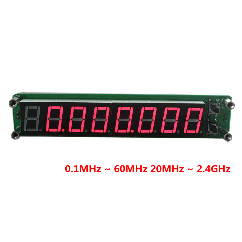8 digits 0.56LED 0.1MHz ~ 60MHz 20MHz ~ 2.4GHz Digital Frequency Counter Meter Tester Cymometer RED LED Display RF Signal Input mini handhold digital frequency counter tester indicator detector cymometer remote control transmitter wavemeter 250 450mhz