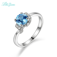 I Zuan 925 Sterling Silver Natural 0 86ct Blue Topaz Prong Setting Classic Top Quality Ring