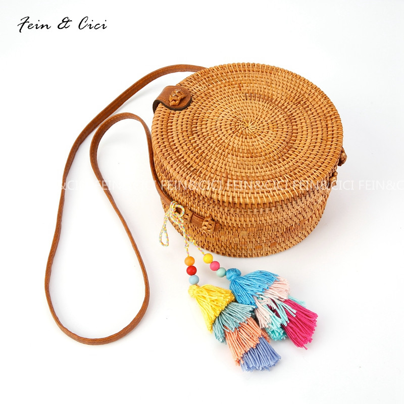 Straw Bags Circle Rattan bag tassel messenger Beach Bag bali Women Small Boho Handbags Summer 2017 Handmade leather shoulder цена