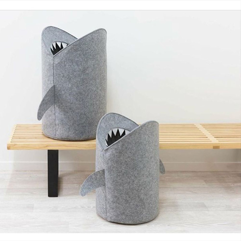 INS Nordic Cartoon Shark Shape Collapsible  Newborn Baby Bedroom Decor Basket Bag For Toys Kids Easter Birthday Gifts