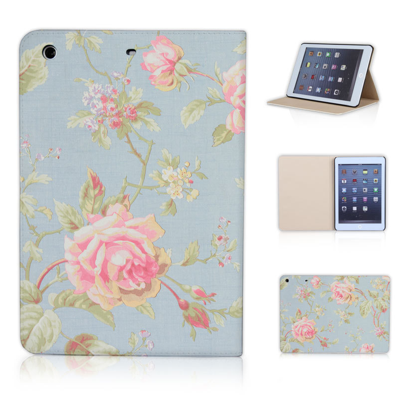 BTD Vintage Flowers Sky Blue Luxury Print Crossline PU Leather Case for ipad mini 1 2 3 Free Screen Film P015-ip-mini