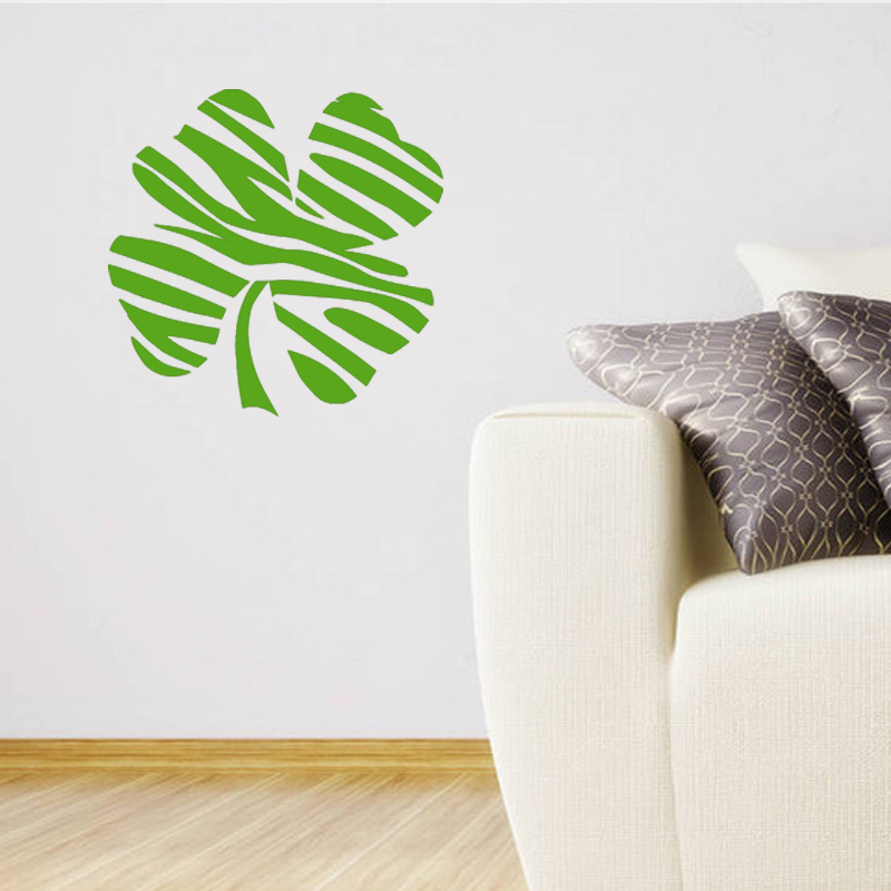 zebra casual relaxed and happy four leaf wall art stickers decals vinyl home art decor living room suitable for bedroom casual living room lots