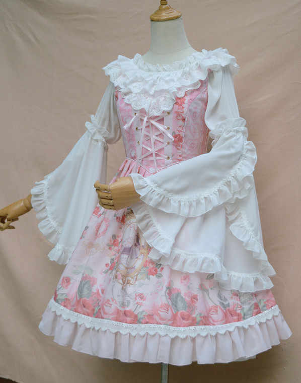 PYJTRL جديد الحلو لوليتا طويل مضيئة كم الشيفون أعلى Blusas واحد كلمة طوق الدانتيل الأبيض كيمونو قميص بلوزة للنساء