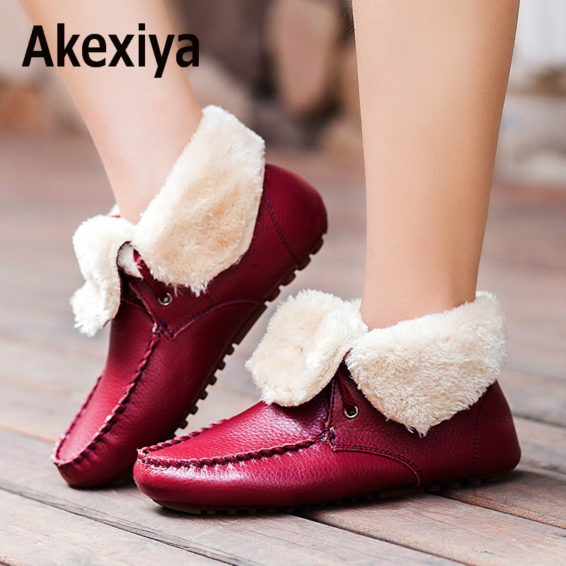 Akexiya Women Boots 2017 Fashion Leather Ankle Boots for Women Warm Shoes for Winter Boots Women Shoes Zapatos Mujer Booties