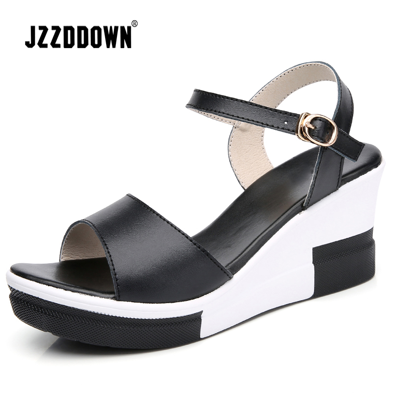 72b58bfd7866 Women Platform sandals shoes Genuine Leather ladies white flat Sneakers shoe  2018 summer Fashion platform High Heel footwear-in Middle Heels from Shoes  on ...