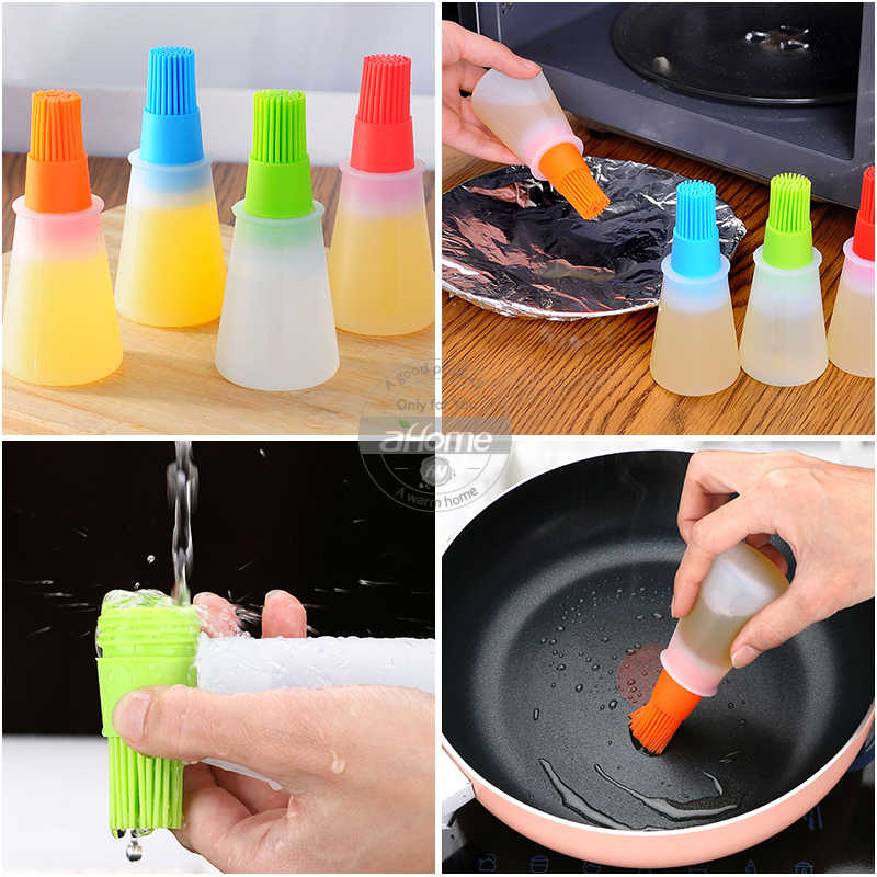 Random Color Natuworld 2Pcs Silicone Oil Bottle Brush BBQ Pastry Basting Brushes Silicone Cooking Grill Barbecue Baking Pastry Oil Honey Sauce Bottle Brush