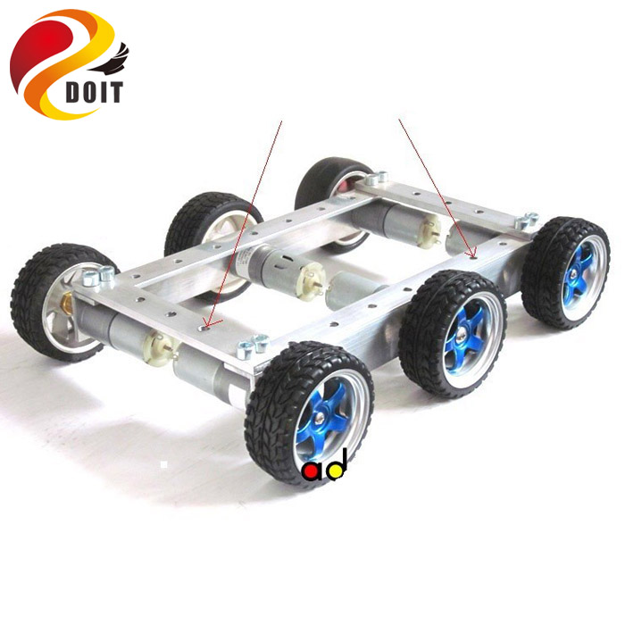 DOIT Cool and New 6WD Robot Smart Car Chassis Big Load Large Bearing Chassis with Motor 6V150RPM Wheel Skid DIY RC Toy потолочный светильник arte lamp luna a3450pl 3cc