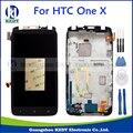 Para htc one x/xl s720e g23 lcd screen display toque digitador assembléia com a substituição do quadro peças + ferramentas