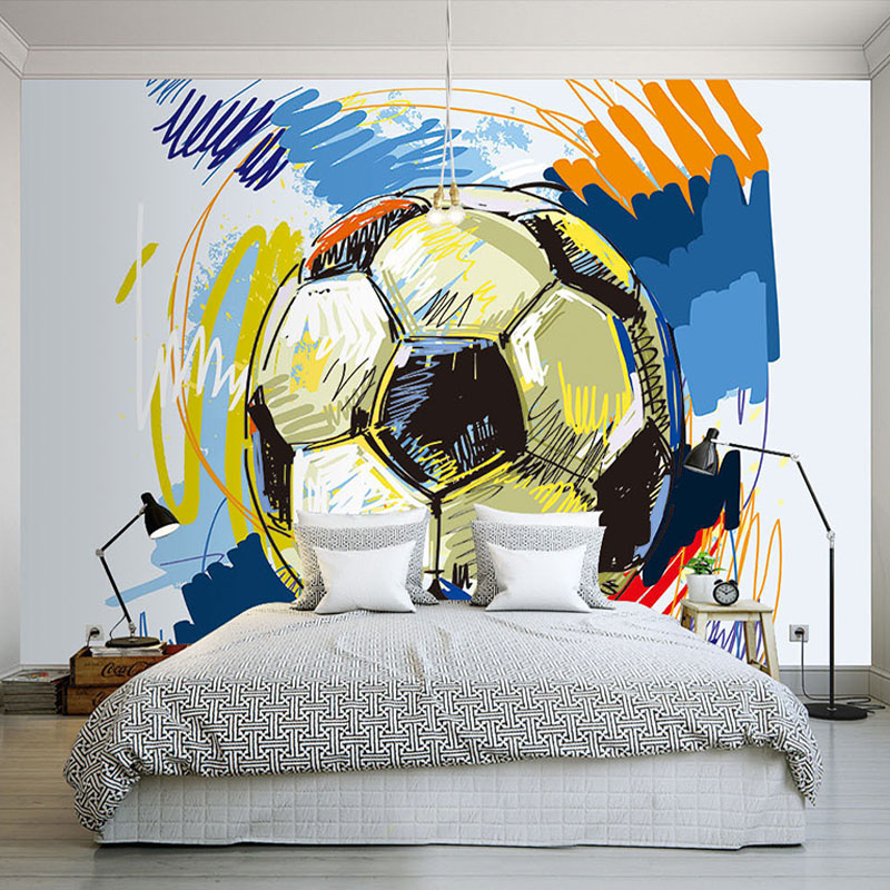 Modern Fashion Hand-painted Graffiti Football Wallpaper Custom Mural Non-woven Interior Wall Decoration Art Wall Painting Soccer interior design