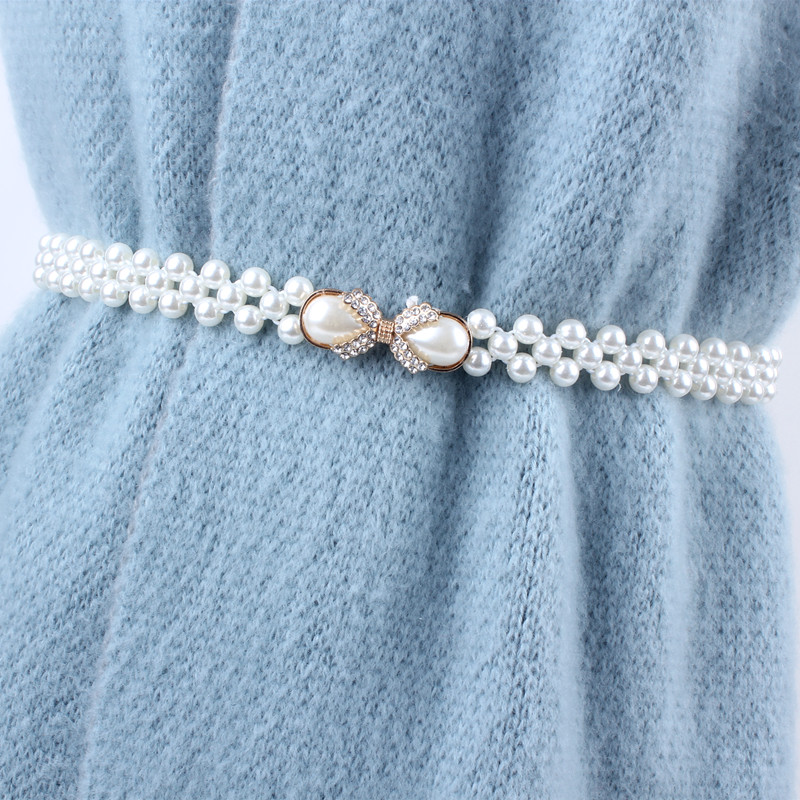 ladies women white stretch elastic waist seal thin chain   belt   pearl rhinstone for dresses skirt decoration fashion girdles gifts