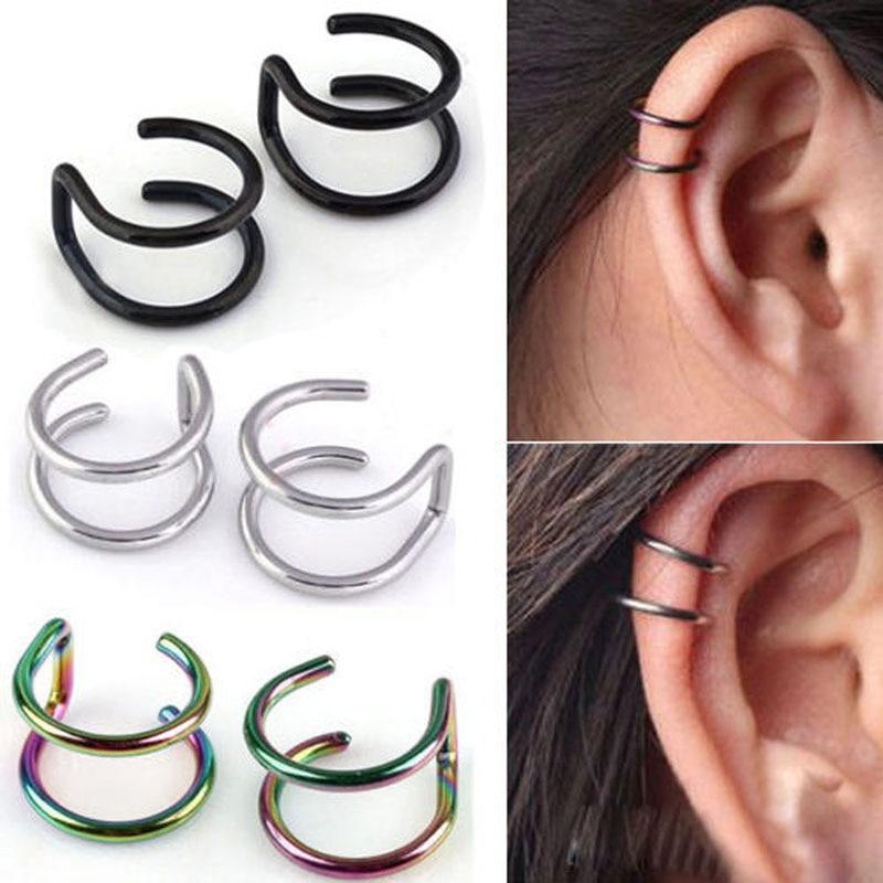 2 Pcs/set Punk Simple Ear Clip Cuff Wrap Earrings For Women Fashion Jewelry Clip-on Earrings Non-piercing Ear Cuff Eardrop(China)