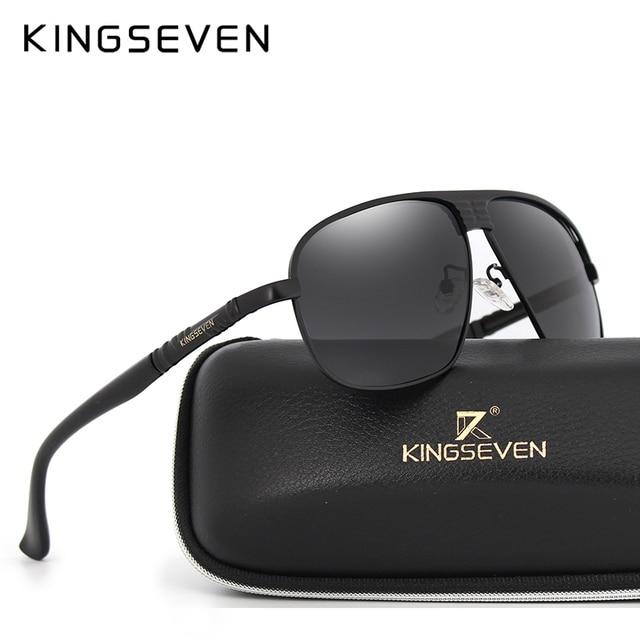 KINGSEVEN Baru Kedatangan Terpolarisasi Kacamata Pria Merek Desainer Busana  Mata Melindungi Kacamata Matahari Dengan Kotak KINGSEVEN 65c584dc2f