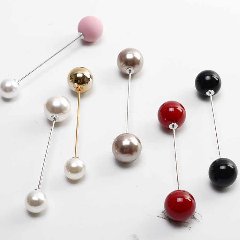 2018Fashion 1Pc Woman/Girl Imitation Pearl Brooch Classic Charm High Quality Accessories Simple Double Pearls Brooches All-match