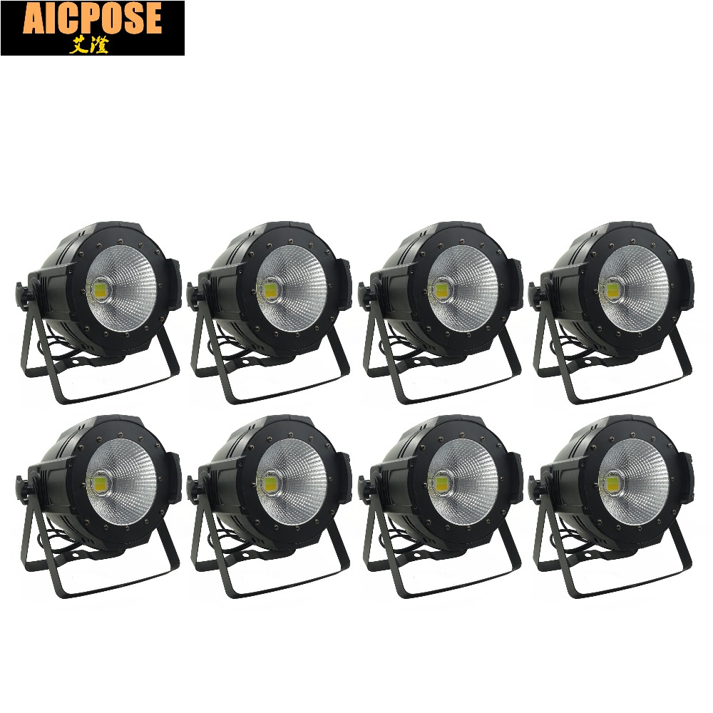 8units  LED Par  COB Light 100W High Power Aluminium DJ DMX Led Beam Wash Strobe Effect Stage Lighting,Cool White and Warm White china stage lighting supplier 100w warm white yellow color aluminum indoor led par light cob lamp source strobe effect projector
