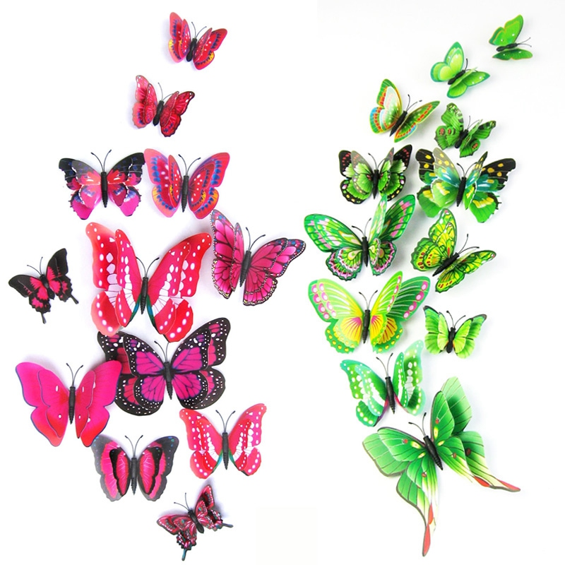 Hot sale 12st / väska 3D PVC Double Wing Butterfly Väggdekaler Hem - Heminredning - Foto 4