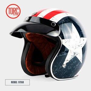 Image 3 - TORC T50 jet helmet motorcycle open face helmet  retro personalized motorbike vintage helmet capacete moto helmet DOT